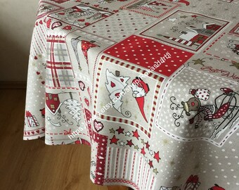 christmas tablecloth round tablecloth oval square rectangletable linen square grey red christmas pattern 70 80 90 106 inches - Square Christmas Tablecloth