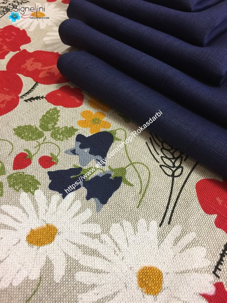 Floral Appliqu\u00e9 and Fine Embroidered Stitching Set of 4 Vintage Hand Crafted Cotton Placemats with Matching Cloth Napkins