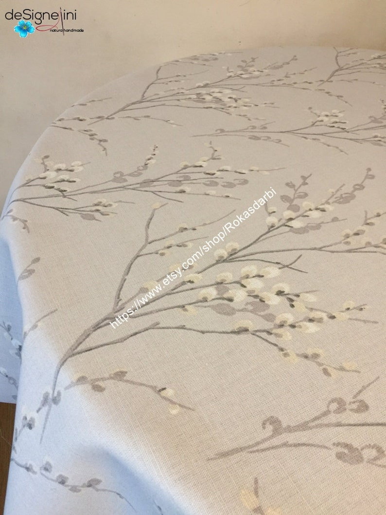 Tablecloth Table Linen Round Tablecloth Oval Tablecloth Beige Grey Color Tabletop Laura Ashley Pussy Willow