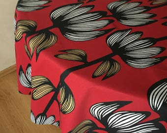 Round Oval Tablecloth Red Cotton Floral Tablecloth