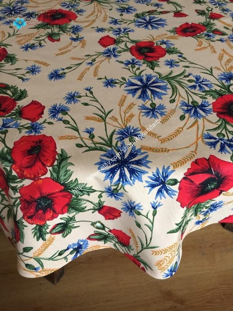 Round Tablecloth Table Linen Floral Fabic Print Summer Tablecloth Poppy