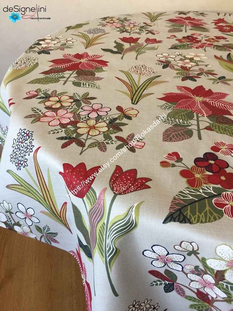 Round Tablecloth Oval Tablecloth Square Rectangle Floral Tablecloth Cotton  Fabric Custom Table Linen