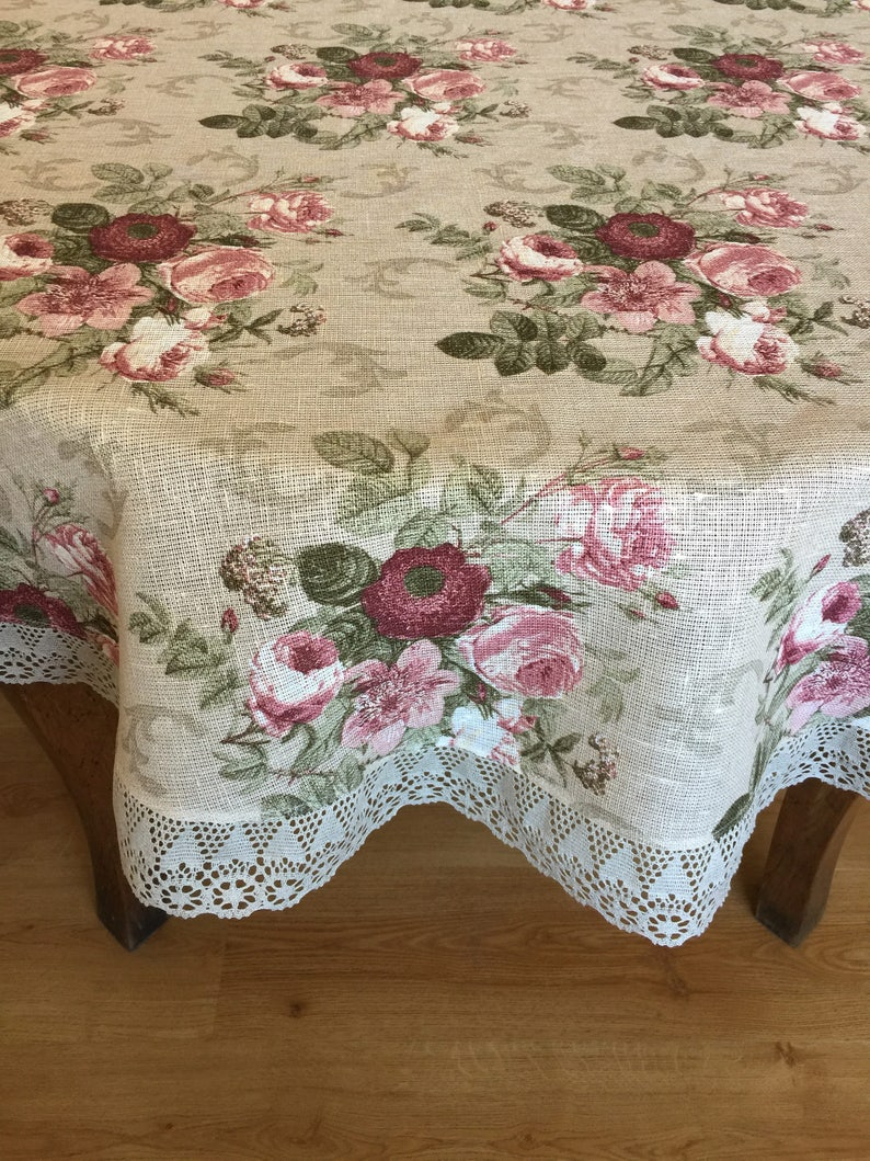 Merveilleux Linen Round Tablecloth Linen Lace Print Fabric Floral Tablecloth Shabby  Chic Roses
