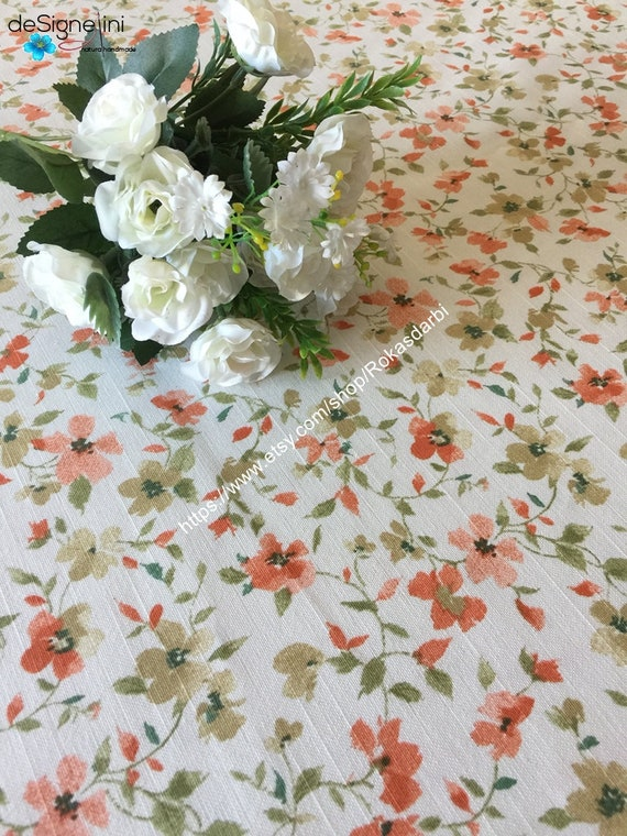 Round Tablecloth Cotton Fabric Square Oval Rectangle Tablecloth Floral Tablecloth Red Magnolia