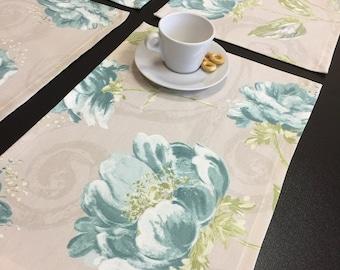 Placemats Set 6 Grey Ocean Blue Flower Table Linen Fabric Placemats Reusable