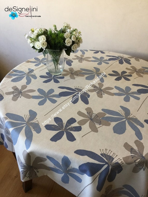 Round Tablecloth Oval Floral Tablecloth Cotton Fabric