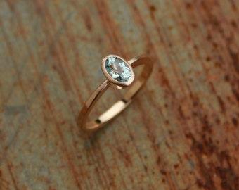 Ring 14k roségold with aquamarine