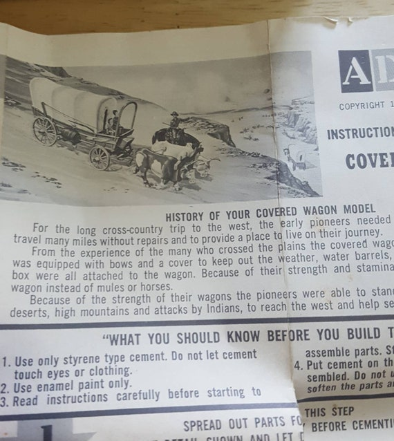 1958 Adam S Covered Wagon 1 40th Scale Plastic Model Kit Mail Order Model Western Family Oxen Pulling