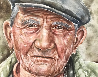Image of: Artwork Watercolor Portraitportrait Artoriginal Watercolor Portrait Of An Old Man With Hatold People In Artwatercolor Art Etsy Watercolor Portrait Old People Art Original Watercolor Etsy