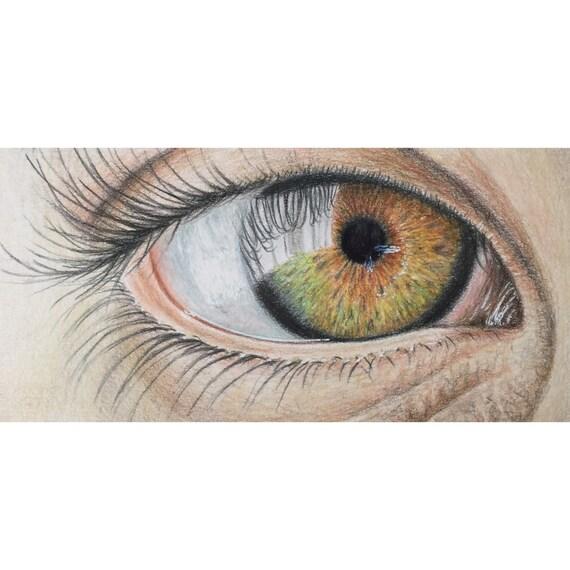 Crayon De Couleur Réaliste Yeux Dessin Crayon Art Oeil Peinture Art Réaliste Décoration Murale