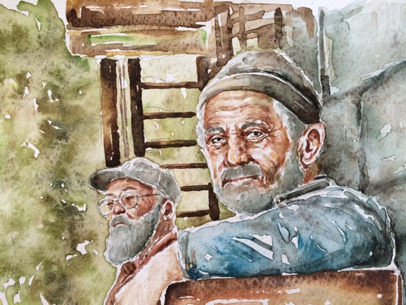Image of: Old Man Image Etsy Old People In Art Original Watercolor Paintingwatercolor Etsy
