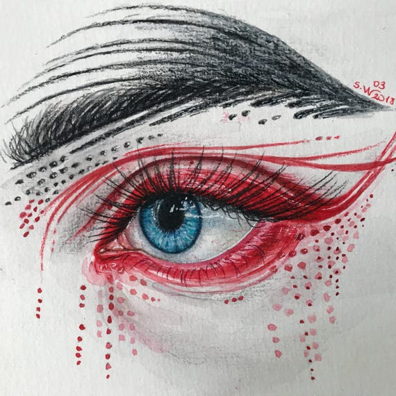 Abstract Eye Painting Watercolor Eye Painting Eye Red Make Up