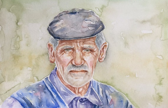 Image of: Karunagama Image Etsy Watercolor Portrait Old People Art Original Watercolor Etsy