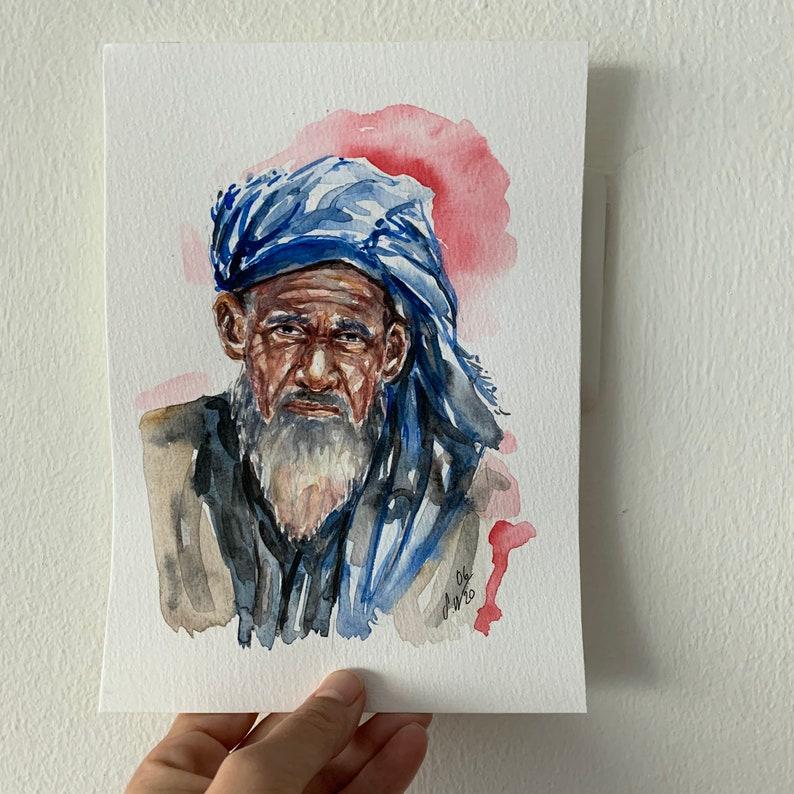 original portrait,old man art,small portrait,man portrait,original art Kashmir Watercolor portrait