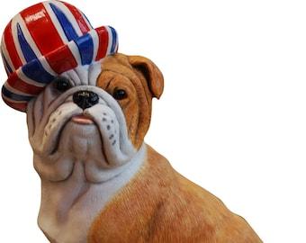 British Bulldog Wearing Union Jack Hat Sculpture Figurine
