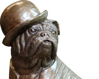 British Bulldog Figurine Bronze Finish wearing Union Jack waistcoat