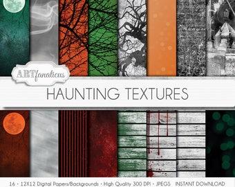Haunting Textures digital papers, scenes, moon, trees, haunted, graveyard, tombstone, ghosts, textures, dirty, grunge, Halloween backgrounds