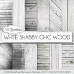 "Shabby real wood papers ""White Shabby Chic Wood"" white wood backgrounds, wood texture, white plank, white board, distressed wood, grungy"