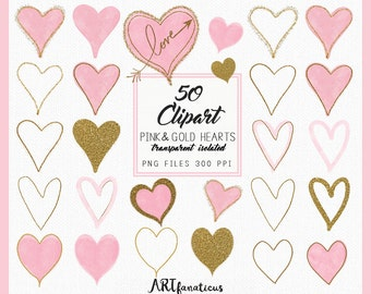 Pink & Gold Hearts - 50 Cliparts, glitter hearts, heart shapes, love arrows, Valentine's Day, hand sketched hearts for your art projects