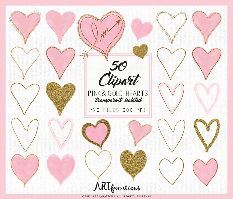Pink & Gold Hearts  50 Cliparts glitter hearts heart image 0