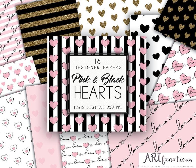 PINK & GOLD HEARTS Digital Designer Papers 16 pink watercolor image 1