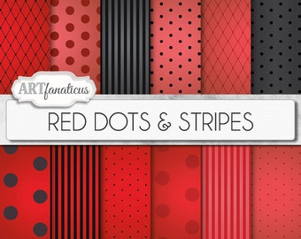 """Red and Black digital papers """"Red Dots & Stripes"""" Sexy red backgrounds, black, vignette, polka dots, stripes, Valentines Day, Boudoir"""