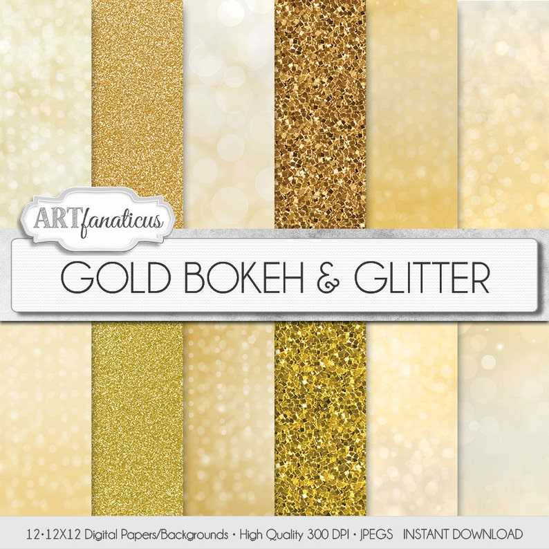 GOLD BOKEH & GLITTER gold digital papers with gold glitter image 0