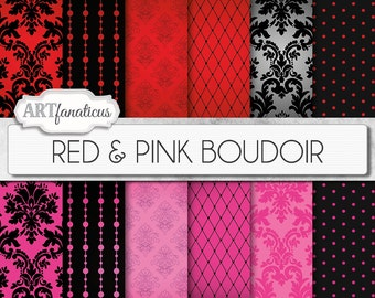 """Boudoir digital papers """"RED & PINK BOUDOIR"""" sexy red and pink backgrounds, damasks, pearls, fishnets, boudoir photography, scrapbooking"""