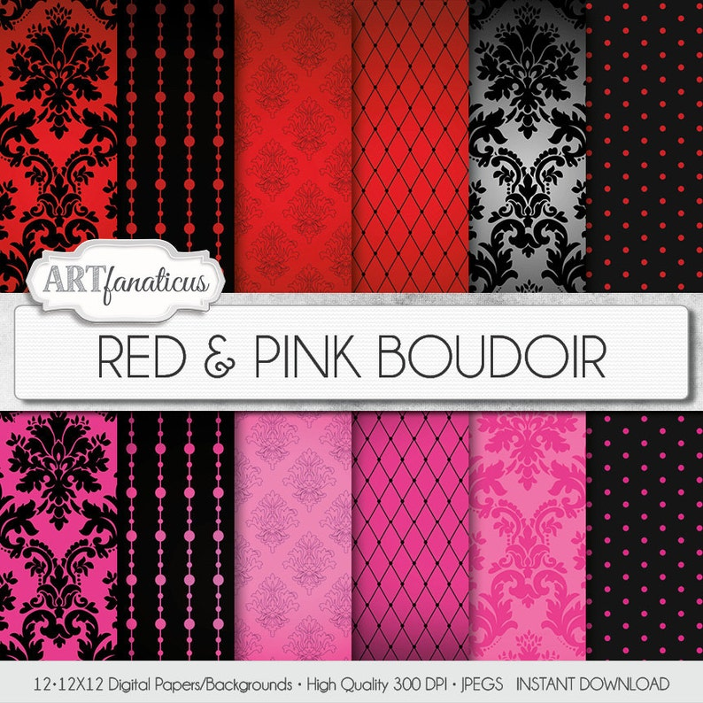 Boudoir digital papers RED & PINK BOUDOIR sexy red image 0