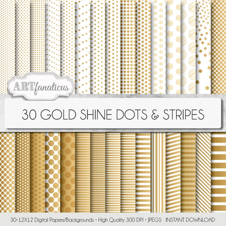 Gold pattern papers GOLD SHINE Dots & Stripes 30 image 0