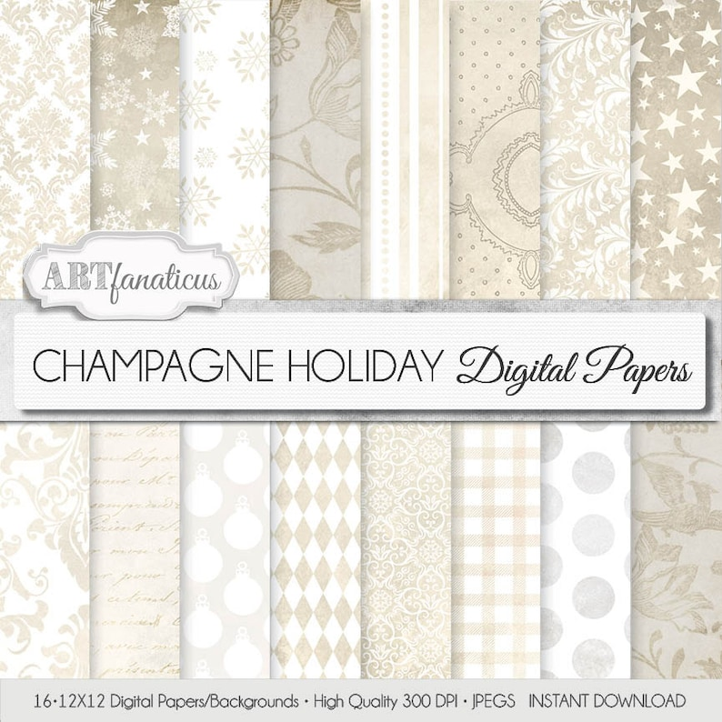 Winter Christmas Digital Papers Background CHAMPAGNE image 0