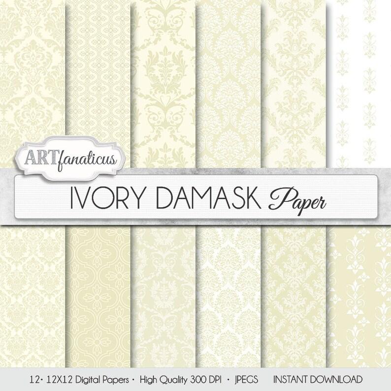 Damask digital papers IVORY DAMASK elegant ivory image 1