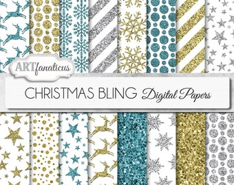 """Christmas glitter papers """"CHRISTMAS BLING GLITTER"""" gold glitter, reindeer, glitter snowflakes, stars, silver glitter, blue glitter on white"""
