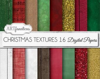 "Christmas Digital Paper ""CHRISTMAS TEXTURES"" wood, burlap, linen, fabric holiday texture paper for scrapbooking,invitations,cards, navidad"