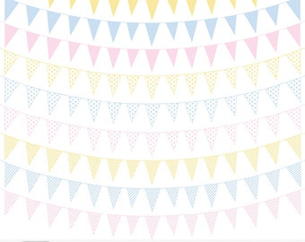 """Bunting Cliparts """"28 BABY FLAG BANNER"""" pink,pale blue,yellow banners with polka dots, stripes and plain designs perfect for scrapbookers"""