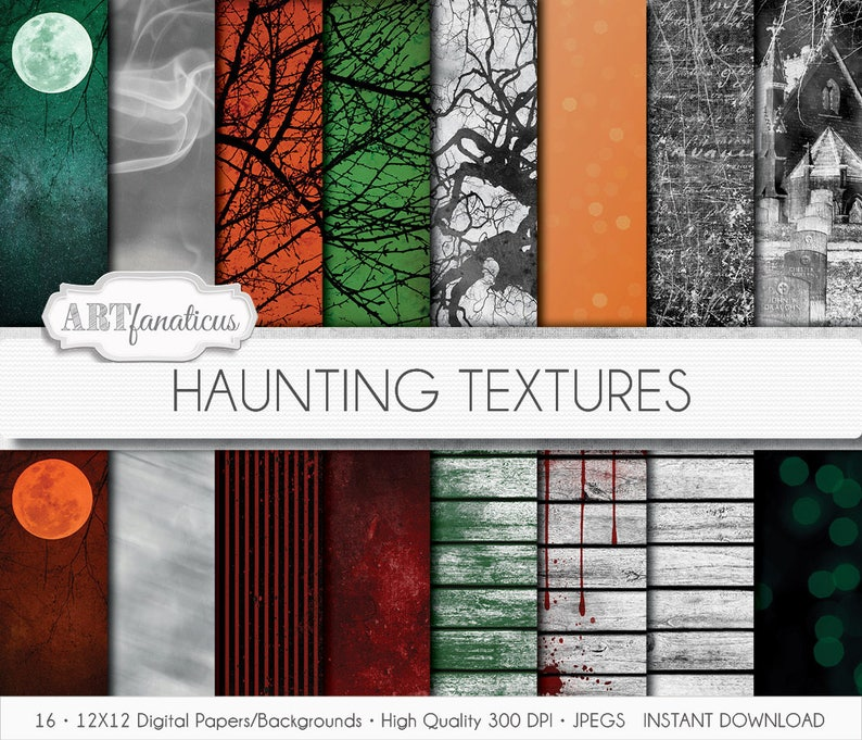 Haunting Textures digital papers scenes moon trees image 0