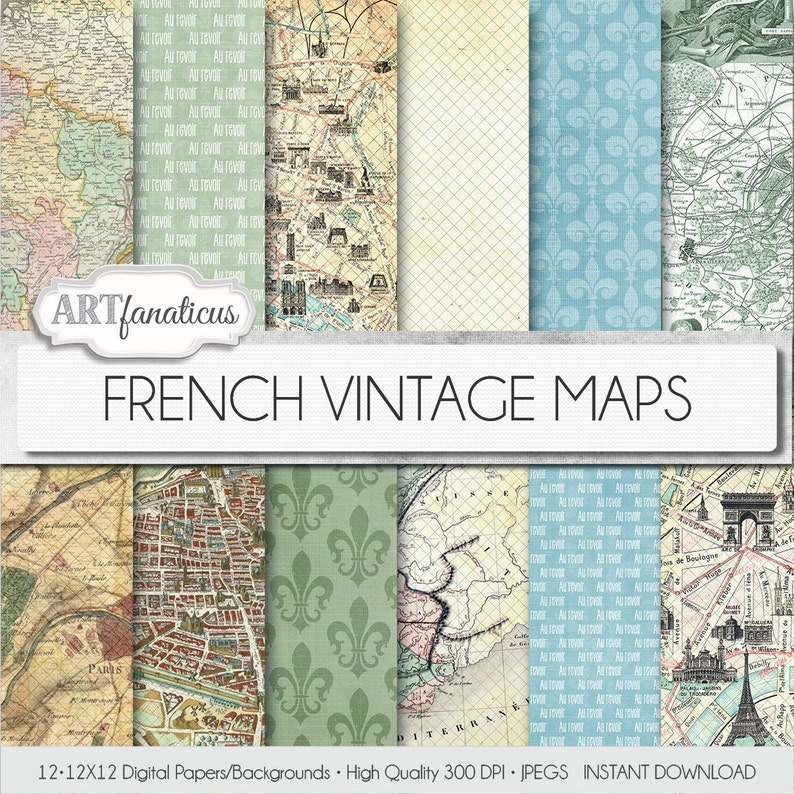 French Vintage Maps digital papers FRENCH VINTAGE image 0