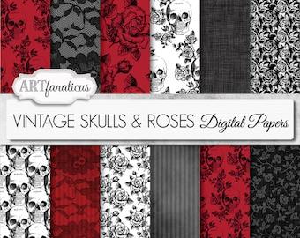 "Halloween digital papers ""VINTAGE SKULLS & FLOWERS"" vintage flowers, vintage skulls, black roses, red roses, black lace, gothic, flowers"