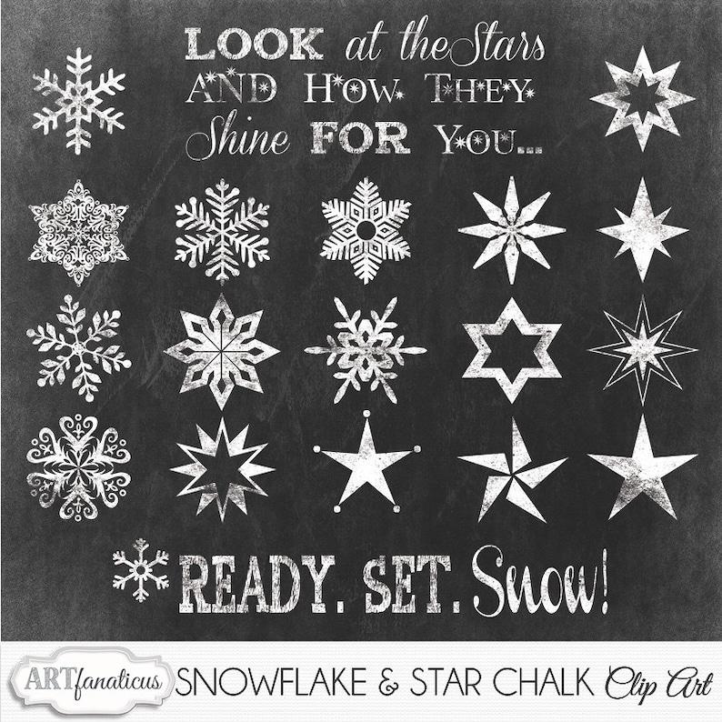 Christmas Chalk Cliparts SNOWFLAKE & STARS Clip image 0