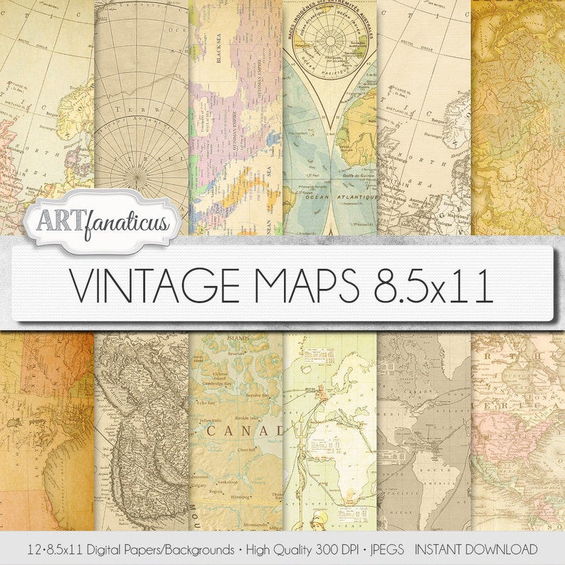 Vintage maps 8.5x11 digital paper VINTAGE MAPS image 0