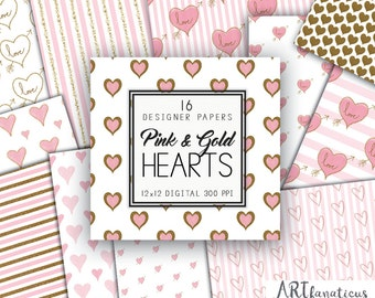 Pink & Gold Hearts Digital Designer Papers 16 Gold, Glitter, Pink Watercolor, Hand Drawn,Painted, Wedding, Brides, Shower, Baby Girl, Love