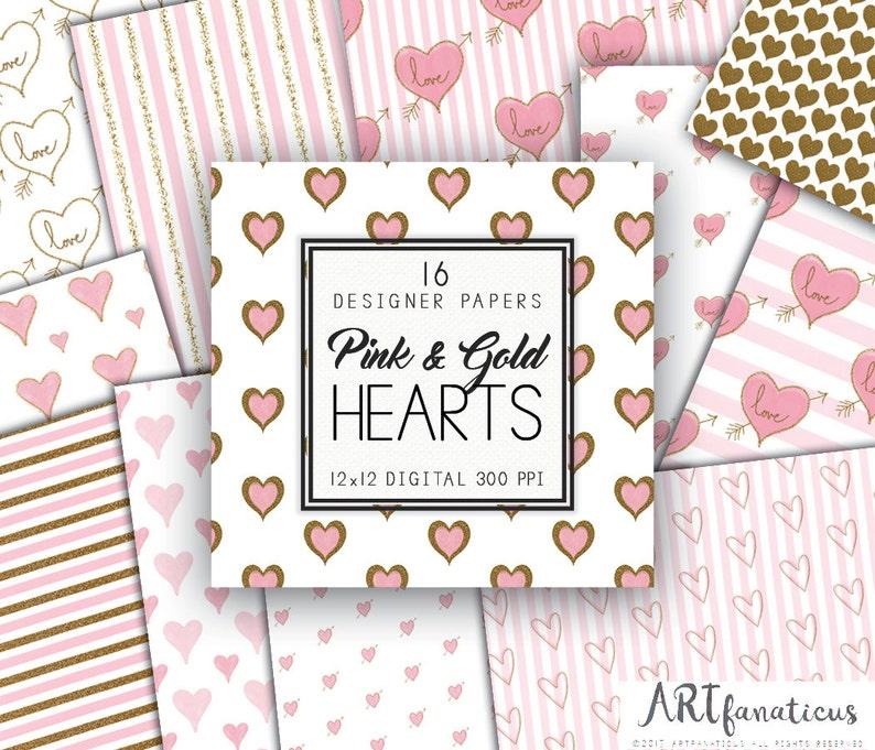 Pink & Gold Hearts Digital Designer Papers 16 Gold Glitter image 1