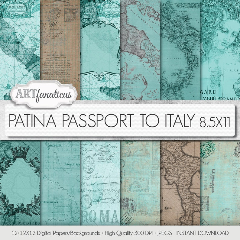 Maps 8.5x11 digital papers PATINA PASSPORT to ITALY image 0