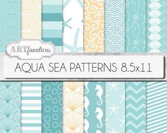 "Beach digital papers ""AQUA SEA PATTERNS 8.5x11"" shells, seahorse, waves, seashell, ocean, starfish, chevron, sea, beach, nautical, seashore"