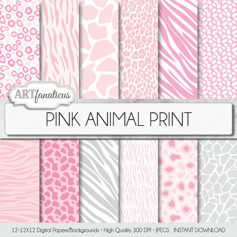 ANIMAL PRINTS 12x12 digital paper pink and white background image 0