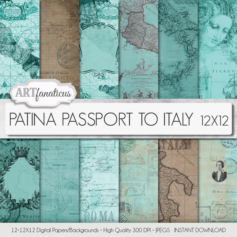 Maps 12x12 digital papers PATINA PASSPORT to ITALY image 0
