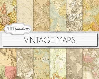 "Vintage maps digital paper, ""VINTAGE MAPS"" Travel,antique maps, old world, globe, America, Europe, Asia, Australia, maps, scrapbooking"