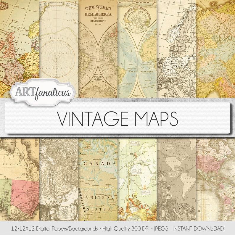 Vintage maps digital paper VINTAGE MAPS image 0