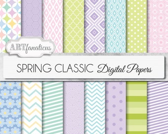 """Spring digital papers """"SPRING CLASSIC"""" pink, blue, lilac,yellow, teal, pastel, spring designs for scrapbook projects, baby shower and more"""