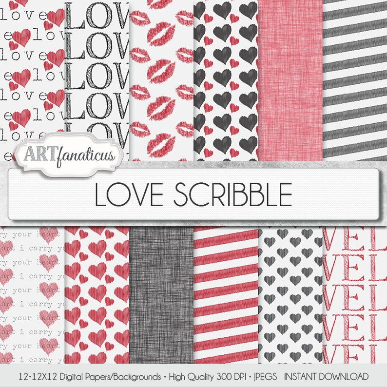 Love Digital Papers LOVE SCRIBBLE hand drawn image 0